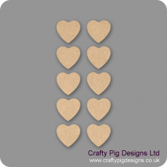 3mm MDF Fuller Heart - (As used in family tree kits) Pack of 10
