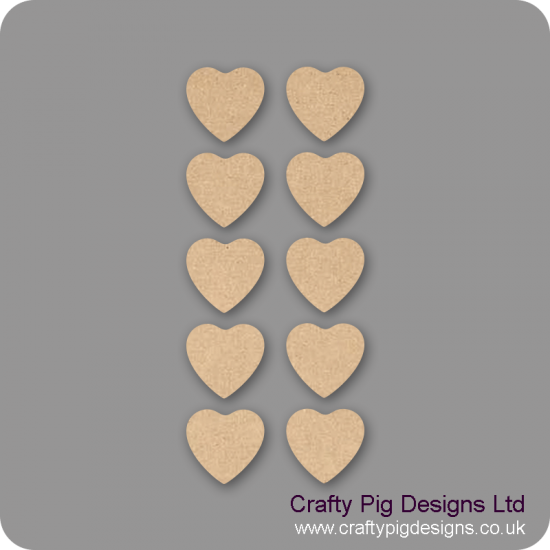 3mm MDF Fuller Heart - (As used in family tree kits) Pack of 10 Hearts
