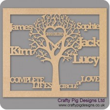 3mm MDF Grandchildren Tree in Frame  - Personalised with Your Names Trees Freestanding, Flat & Kits