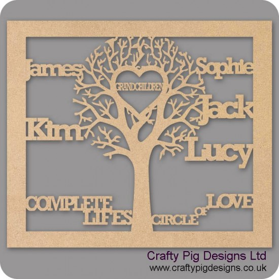 3mm MDF Grandchildren Tree in Frame  - Personalised with Your Names