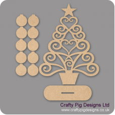 3mm MDF Christmas Family Tree Kit with 10 Baubles & Plinth Trees Freestanding, Flat & Kits