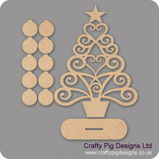 3mm MDF Larger Christmas Family Tree Kit with 25 Baubles & Plinth Trees Freestanding, Flat & Kits