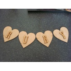 3mm MDF Heart Bunting (single with letter) Bunting