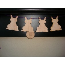 3mm MDF Rabbit Bunting (pack of 10) Easter
