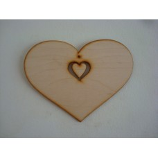 3mm MDF Country Heart with Small Heart Dangling attached (sized by width) Hearts