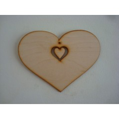 3mm MDF Country Heart with Small Heart Dangling attached (sized by width)