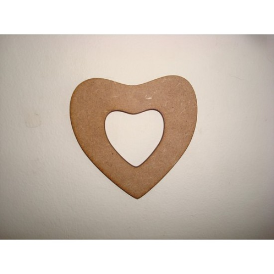 3mm MDF Fuller heart with cut out centre Hearts