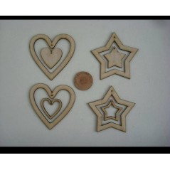 3mm MDF Hearts and Stars with centre heart and star