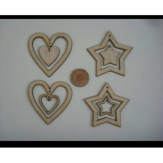3mm MDF Hearts and Stars with centre heart and star Hearts