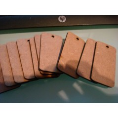 3mm MDF Gift Tag 4 (plain rectangle) (pack of 5) Tags