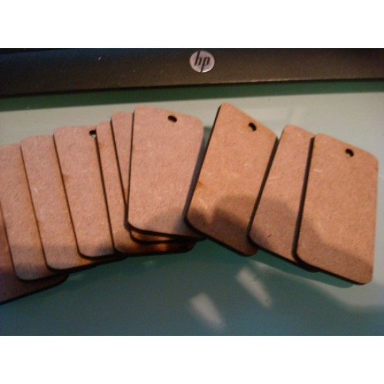 3mm MDF Gift Tag 4 (plain rectangle) (pack of 5)