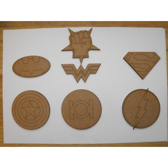 JLA Super Hero Badges Small MDF Embellishments