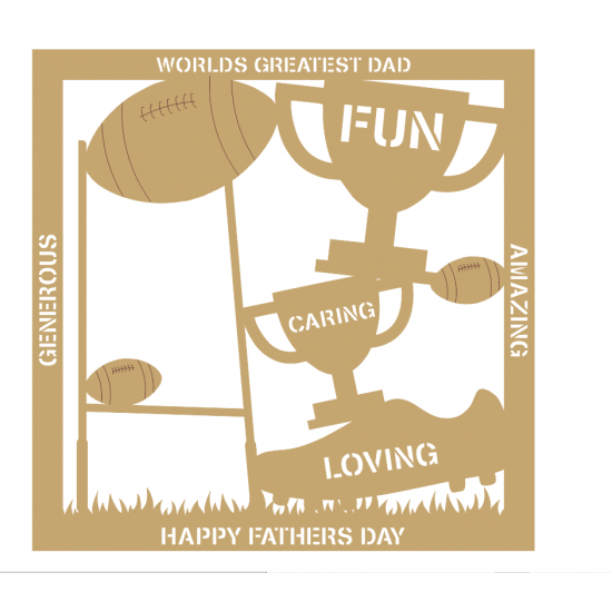 3mm MDF Father's Day Plaque - Rugby Fathers Day