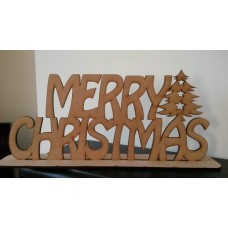 3mm MDF Merry Christmas on Plinth (1 tree) Christmas Quotes & Signs