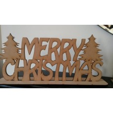 3mm MDF Merry Christmas on Plinth (2 trees) Christmas Quotes & Signs