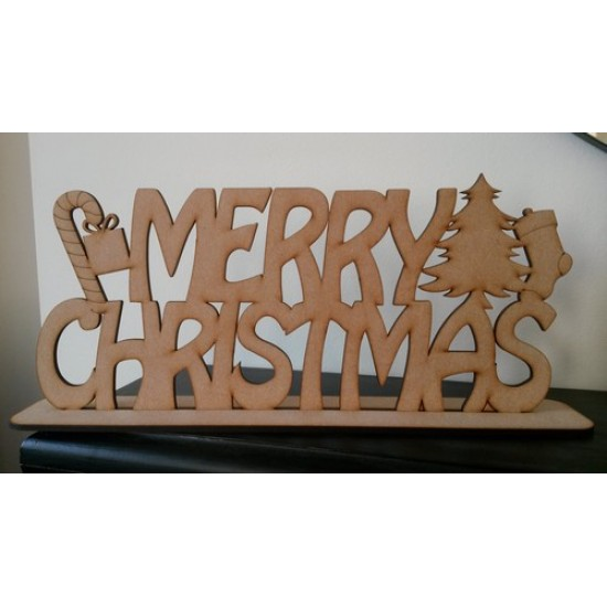 3mm MDF Merry Christmas on Plinth (candy cane and tree) Christmas Quotes & Signs