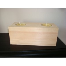 2 Tea Light Holder Block (165mm x 70mm) Wooden Blocks, Tea Lights and Stacking Block Sets