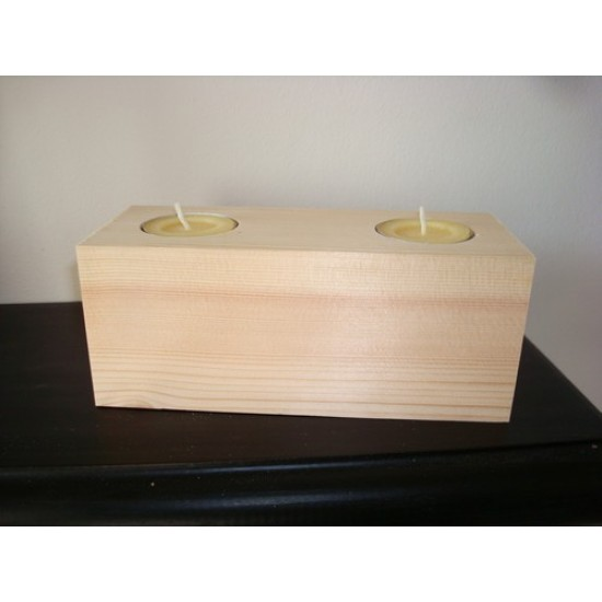 2 Tea Light Holder Block (165mm x 70mm) Wooden Blocks, Tea Lights and Stacking Block Sets