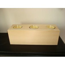3 Tea Light Holder Block (200mm x 70mm) Wooden Blocks, Tea Lights and Stacking Block Sets