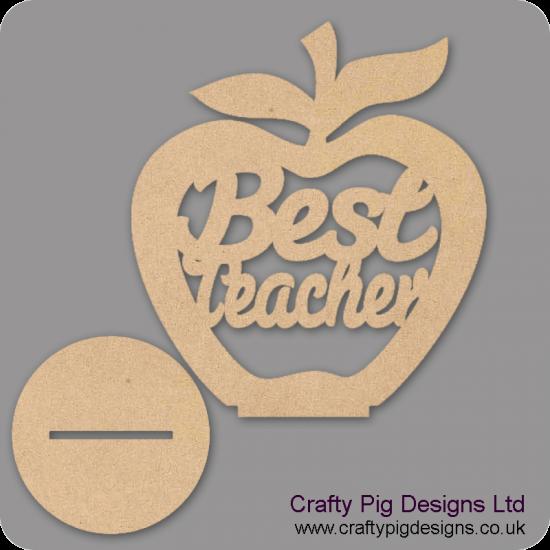 3mm MDF Best Teacher - Freestanding Apple Teachers