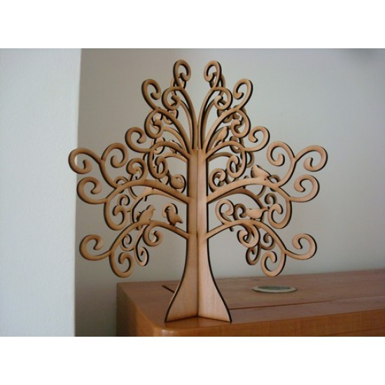 4mm MDF Freestanding 3D Swirly Tree Trees Freestanding, Flat & Kits