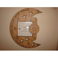 3mm MDF I Love you to the moon and back left side Light Surround  Light Switch Surrounds