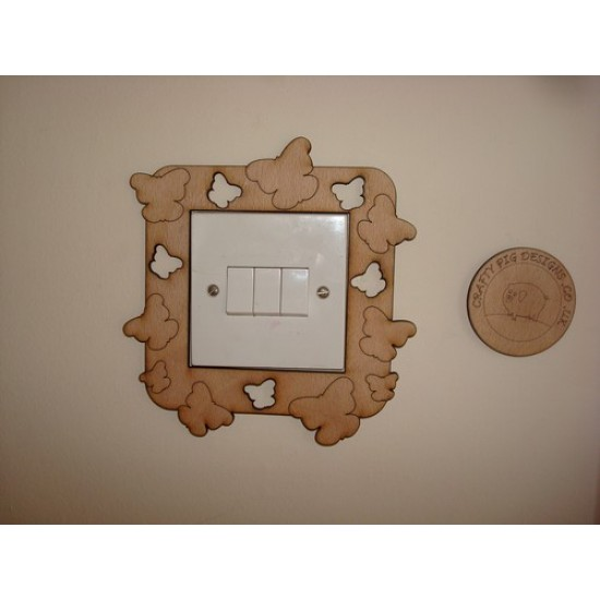 3mm MDF Cut Out and Etched Butterfly Light Surround  Light Switch Surrounds