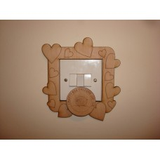 3mm MDF Etched Heart Light Surround  Light Switch Surrounds