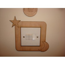 3mm MDF Star and Moon Light Surround  Light Switch Surrounds
