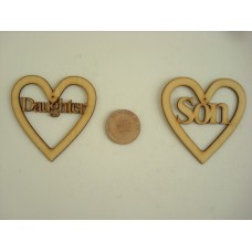 3mm MDF Daughter Heart Hearts With Words
