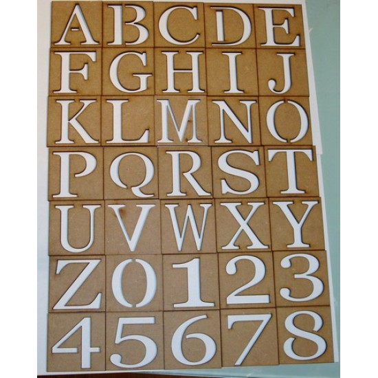 3mm MDF Full Set of Upper Case Stencils 50mm high 3, 4 and 6mm Letters & Numbers