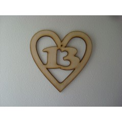 3mm MDF Birthday Heart Number 13 Birthdays