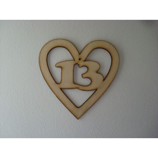3mm MDF Birthday Heart Number 13 Birthdays