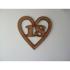 3mm MDF Birthday Heart Number 18 Birthdays