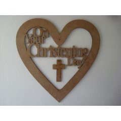 3mm MDF Christening/Communion Heart 20cm