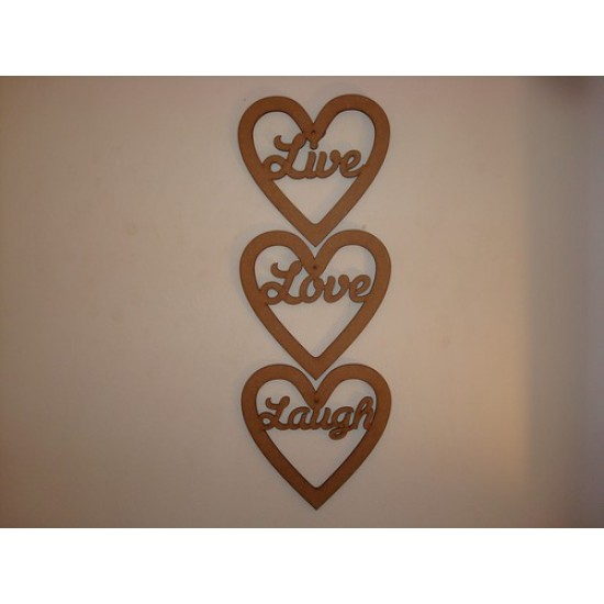 3mm MDF LIVE LAUGH  LOVE words in hearts (set of 3) Hearts With Words