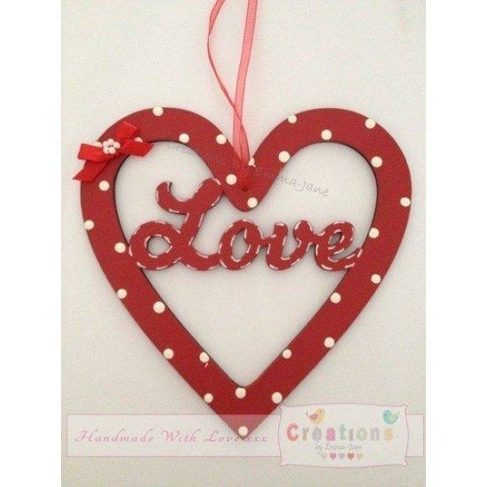 3mm MDF Love in a Heart Hearts With Words