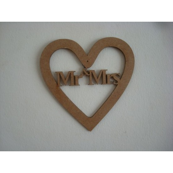 3mm MDF Mr and Mrs Heart Hearts With Words