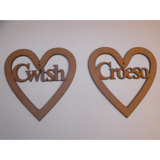 3mm MDF Cwtsh in a Heart Hearts With Words