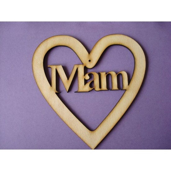 3mm MDF Mam Heart 15cm Hearts With Words