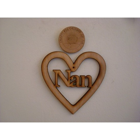 3mm MDF Nan Heart Hearts With Words