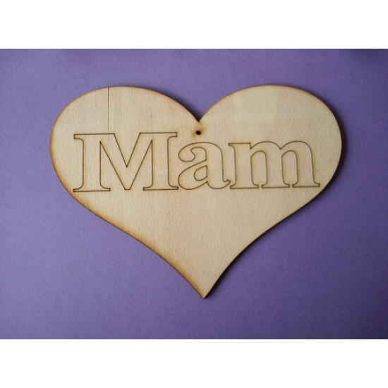 3mm MDF Mam Country Heart (sized by width) Hearts With Words