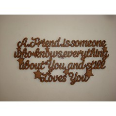3mm MDF A Friend is someone who knows everything about you..... hanging plaque Friends