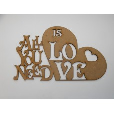 3mm MDF All you need is LOVE for sticking to wall (no holes)