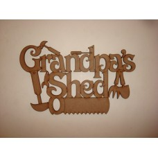 3mm MDF Grandpa's Shed with tools Fathers Day