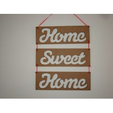 3mm MDF Home Sweet Home Rectangular Plaques with Susa Font words cut out (set of 3) Joined Words