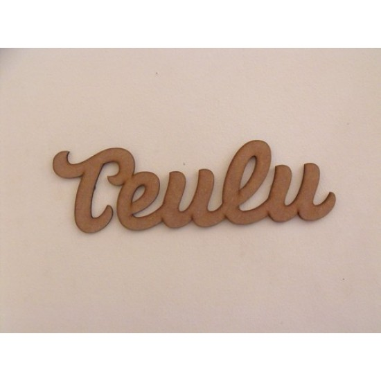 3mm MDF Teulu word with 5 x 5cm hearts Joined Words