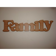 3mm MDF Family Word in Cooper Font (300 wide x 100 high) Joined Words