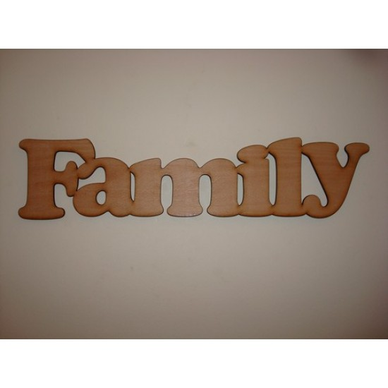 3mm MDF Family Word in Cooper Font (300 wide x 100 high)