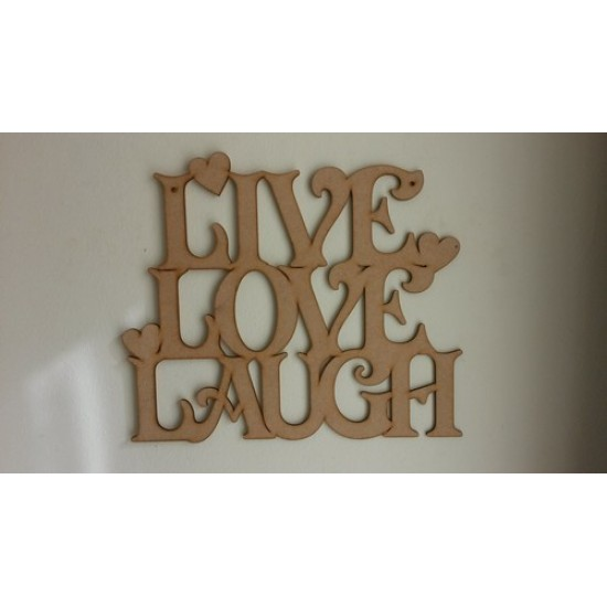 3mm MDF LIVE LAUGH  LOVE hanging plaque (new design with hearts)